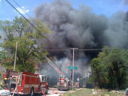 black smoke pours out of southern publishing association building