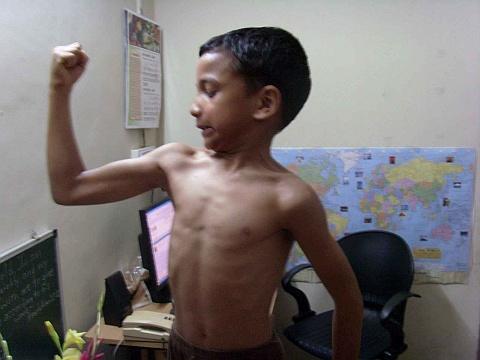 muscle bound boy